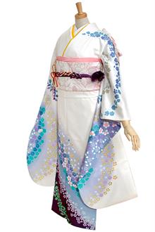 R358 【訳あり】白 桜と梅花びらブルーぼかし(R180)