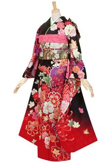 R360 【訳あり】黒 雪輪に大輪菊と牡丹(絹)