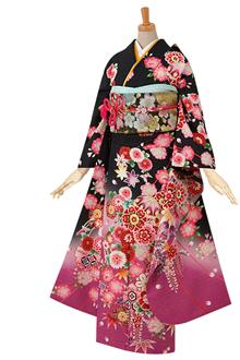 R363 【訳あり】黒 雪輪と手鞠に八重桜☆(絹)