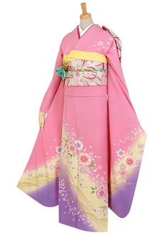 R374 【訳あり】ピンク 金蒔流水に桜☆(絹)