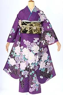 R397 紫 牡丹に洋花