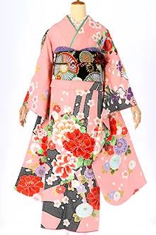 R405 ピンク 絞り柄に牡丹と梅・菊(R580)