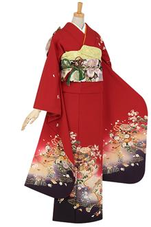 R414 【訳あり】赤 貝桶流水・琵琶・鼓と花☆(絹)