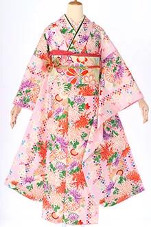 R426 ピンク 市松に菊と小桜