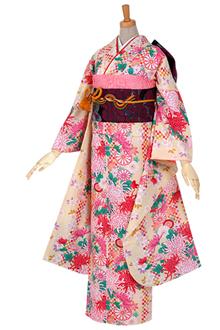 R430 クリーム 市松に菊と小桜
