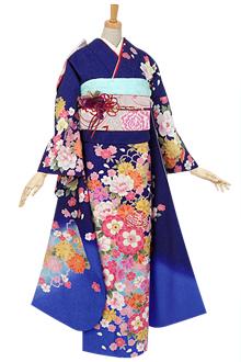 R450 【訳あり】青 鞠と八重桜(絹)