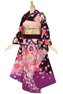 R452 【訳あり】紫 牡丹と八重桜☆(絹)