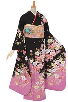 R455 【訳あり】黒 コスモスと桜☆(絹)
