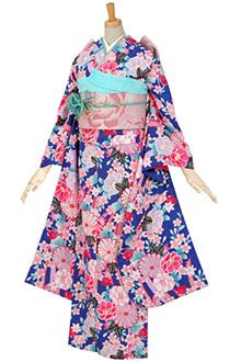 R462 青 熨斗目に菊と桜