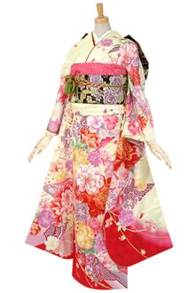 R464 【訳あり】クリーム 大輪牡丹とかのこ柄に桜☆(絹)