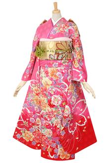 R465 【訳あり】ピンク 彩り花々☆(絹)