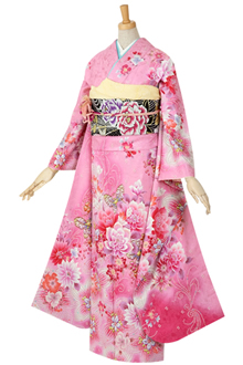 R473 【訳あり】ピンク ダリアとアラベスクの蝶☆(絹)