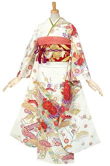 R494 【訳あり】白 古典 花くす玉に熨斗(絹)