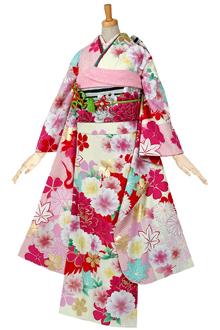 R498 クリーム×ピンク 牡丹と桜に鶴☆