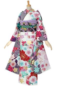 R499 白×紫 牡丹と桜に鶴☆
