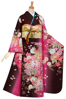 R503 茶ピンク暈 牡丹に乱菊☆(絹)
