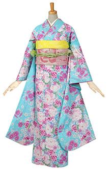 R507 水色 牡丹に小桜☆