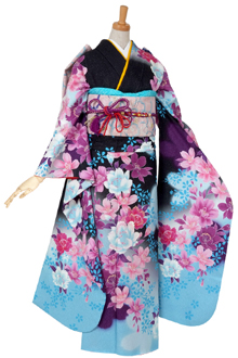 R518 【訳あり】黒 ブルー暈し枝垂桜☆(絹)
