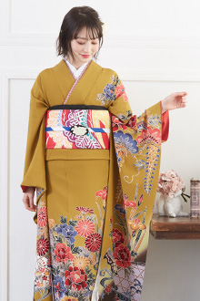 R520 辛子 紅型 菖蒲牡丹に水鳥☆(絹)