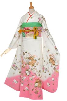 R535 白 ピンク暈し 桜くす玉(桜刺繍)☆(絹)
