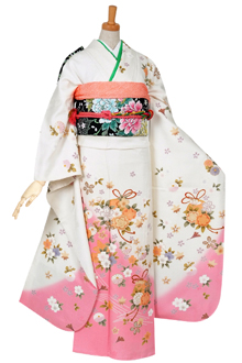 R538 白 ピンク暈し 桜くす玉(絹)(R1801)