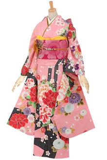 R580 【訳あり】ピンク 絞り柄に牡丹と梅・菊☆(R405)