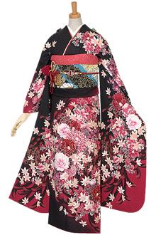 R581 【訳あり】黒×ワイン 椿と木蓮☆(絹)