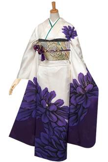 R592 【訳あり】白×紫 芍薬☆(絹)