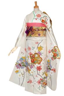 R594 【訳あり】白 紅白梅と桜☆(絹)