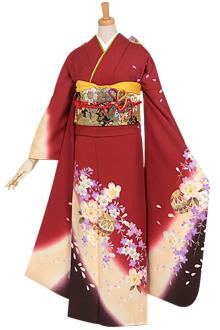 R606 赤 枝垂桜と鞠☆(絹)(宅)