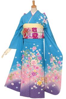 R608 【訳あり】水色 花丸紋にコスモス☆(絹)
