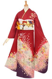 R609 赤 雪輪に桜流水☆(絹)