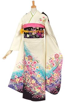R616 白 熨斗に雪輪桜☆(絹)