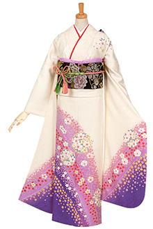 R618 白紫ぼかし 桜丸紋☆(絹)(宅)(S)