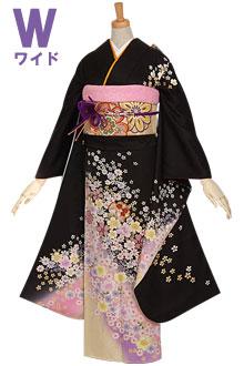 R623 【訳あり】黒 桜と小花もよう☆(絹)(w)