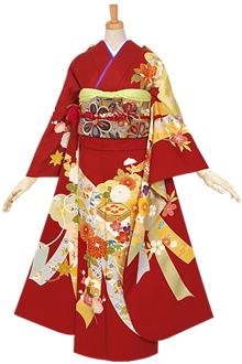 R626 【訳あり】赤 貝桶に四季の花☆(絹)