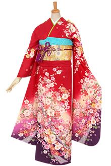 R635 【訳あり】赤 熨斗に四季の花☆(絹)
