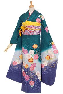 R636 【訳あり】青緑 牡丹桜☆(絹)