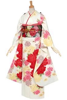 R638 【訳あり】白 赤い薔薇とスノークリスタル(R555)(絹)