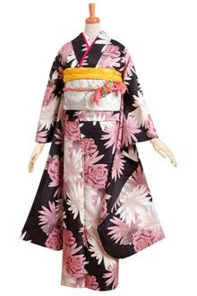 R639 【訳あり】黒 ピンクの菊とマーガレット(R186)
