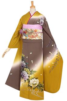R679 【訳あり】芥子×グレー 藤と牡丹流水(絹)(宅)