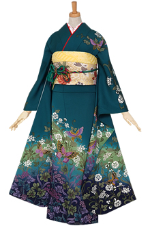 R682 青緑 蝶と蔓草花☆(絹)(宅)