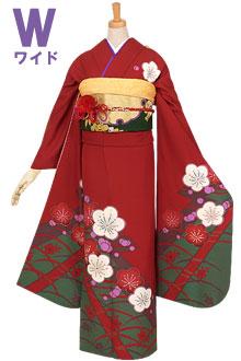 R690 赤 梅と露芝草花☆(絹)(w)
