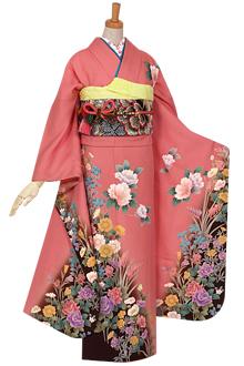 R694 【訳あり】ピンク 薔薇と四季の花☆(絹)(宅)
