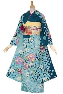 R696 青緑 桜☆(絹)(宅)
