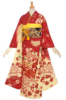 R707 【訳あり】赤×クリーム 朱牡丹に梅(絹)(宅)
