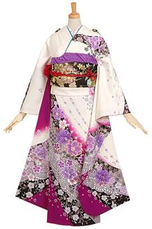 R711 【訳あり】白紫 桜と梅唐草文様☆(絹)(宅)