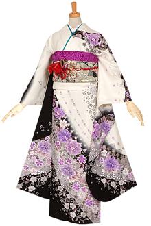 R712 【訳あり】白黒 桜と梅唐草文様☆(絹)(宅)