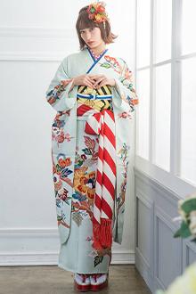 R718 薄緑 変わり梅笹文様☆(絹)(宅)