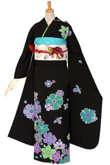R722 黒 パステルフラワー☆(絹)(宅)